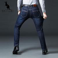 ingrosso blue jeans da uomo logo-DAISHU Inverno addensare ricamo logo LOGO Jeans da uomo in cotone Jeans classici da lavoro classici Jeans da uomo blu royal Pantaloni da uomo