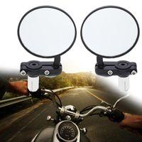 bar uçlu motosikletler ayna toptan satış-Yeni 2 Adet Evrensel Motosiklet Ayna Alüminyum Siyah 22mm Kolu Bar Sonu Dikiz Yan Aynalar Yüksek Kalite Motor Aksesuarları