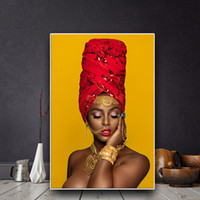 nackte leinwanddrucke großhandel-Schwarz und Gold Sexy Lips Nude Afrikanische Kunst Frau Ölgemälde auf Leinwand Cuadros Poster und Drucke Wandbild für Wohnzimmer