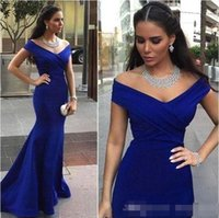 Wholesale bows button dress images for sale - Group buy Cheap New Elegant Royal Blue Mermaid Prom Dresses Off Shoulder Long Women Formal Gown Cheap Evening Dresses
