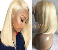 chino pelucas de cabello virgen al por mayor-Corto Bob corte peluca pelucas llenas del cordón chino virgen cabello humano 613 pelo rubio peluca delantera del cordón largo para el envío libre de la mujer negra