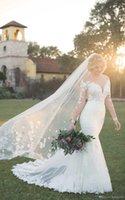 bescheidene gothic kleider großhandel-2019 White Mermaid Vintage Gothic Brautkleider Günstige Langarm Spitze Applique Modest Brautkleider Brautkleider mit Perlen