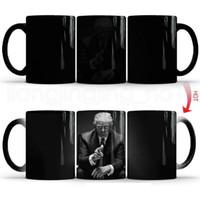 isı renk değiştiren kupalar toptan satış-Sihirli Isı Duyarlı Çay Süt Kupası Yaratıcı Kahve Çay Kupalar RRA2048 Değişen Donald Trump Seramik Kahve Kupalar Renk