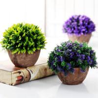 ingrosso pot di decorazione di fiori artificiali-Vaso di piante artificiali Set di piante in plastica Bonsai Fiore artificiale In Pot Wedding Home Garden Decorazione dell'ufficio