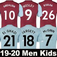 jersey azul 19 al por mayor-19 20 camiseta de fútbol Aston Villa 2019 2020 soccer jersey en casa lejos WESLEY GREALISH KODJA EL GHAZI CHESTER McGinn TARGETT Hombre Niños conjunto camisetas de fútbol