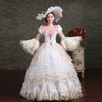 boule de rococo achat en gros de-18ème Siècle V-Cou Blanc Dentelle Volants Muliti-Layer Cour Européenne Robe De Fête Rococo Banquet Renaissance Robes De Bal