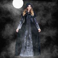 kleid schädel frauen großhandel-Frauen Designer Cosplay Halloween weibliche Göttin Kleid Horror Schädel Vampir Cosplay Kleidung Frauen Theme Kostüm
