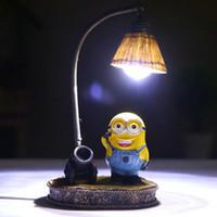 minion ışıkları toptan satış-Bebek Sevimlilik Gece Lambası Roman Minions Küçük Reçine Gece Lambası Çocuklar Yatak Odası Dekorasyon ve Doğum Günü Hediyesi
