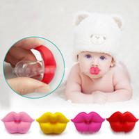 bebek yumuşak silikon toptan satış-Yenidoğan komik Büyük kırmızı dudaklar Emzikler Silikon bebek Emzikler 5 renkler bebek Yatıştırıcı Nipeller