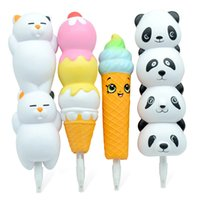 Wholesale eco friendly cream pens resale online - Simulated Cartoon Animals Squishy Slow Rebound Ball Pen Pu Panda Bear Ice Cream Rainbow Stationery Pens Eco Friendly Novelty Items sl E1