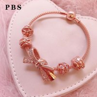 Wholesale turquoise rose pendant resale online - Rose Gold Bracelet for women Luxury jewelry gift Sterling Silver High Quality New Bow Bead Bracelet Pendant DIY Bracelet
