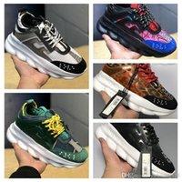 kadınlar için beyaz kauçuk ayakkabılar toptan satış-2019 Lüks Zincir Reaksiyon Erkek Kadın Rahat ayakkabılar En kaliteli Siyah Beyaz Örgü Kauçuk Deri Düz Ayakkabı Tasarımcısı Sneakers Çizmeler 36-45