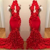 modern moda sanatı toptan satış-Kırmızı Yeni Tasarım Mermaid Gelinlik Aplikler Yüksek Boyun Seksi Örgün Abiye Sweep Tren Saten Lüks Moda Kokteyl Parti Törenlerinde