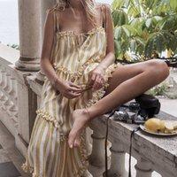 uzun dantel elbisesi toptan satış-Çizgili Elbise Lace Up Backless Ruffles Patchwork Düzensiz Draped Uzun Spagetti Kayışı Elbiseler 2019 Yaz Tatlı