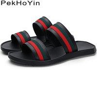 ingrosso tendenze in gomma scarpe-Moda Trend antiscivolo in pelle da uomo Pantofole Scarpe Estate Scarpe da acqua Sandali maschili da esterno in gomma da uomo Beach Slides nero