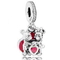 sevgililer kuyumculuk toptan satış-Yeni Otantik 925 Ayar Gümüş Charm Kırmızı Emaye Karikatür Hayvan Aşk Ile Sevgiliydik Kolye Boncuk Fit Marka Bilezik Diy Takı Yapımı