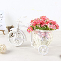 Wholesale flower basket tricycle for sale - Group buy Artificial Flower and Wheeled Tricycle Basket with Bowknot Bonsai Set Home Decor Props for Living Room Office Gift
