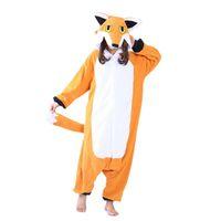 portakal rengi fleece toptan satış-Polar Nick Fox Onesie Yetişkin Pijama Karikatür Turuncu Lowrie Pijama Kostüm Kadın Cosplay Kış Sıcak Pijama Kigurumi Onesies