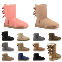 Wholesale work shoes for women heels resale online - designer Australia women classic snow boots ankle short bow fur boot for winter chestnut women winter shoes size