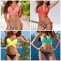 Wholesale swimming pack online - Candy Colors Swim Suit Printing Split Body Bikini Female Cross Hard Pack Swimwear Green Yellow Polyester Material Durable md C1