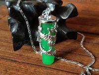 grüne jade drachen anhänger kette großhandel-Halskette Amazing Green Jade Streifen Carving Dragon Lucky Jade Anhänger + Kette Halskette