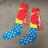 bayraklar çorap toptan satış-Wonder Woman Çorap Yıldız Pelerin başlar Spor Çorap Çorap Hip Hop Amerikan ABD bayrağı Çorap Streetwear LJJA2505