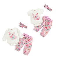 Wholesale toddler easter for sale - Group buy Easter Kids Bunny Clothing Sets Toddler Boutique Clothes Floral Rabbit Romper Bowknot Flower Pants Bow Headband set Outfits M1073