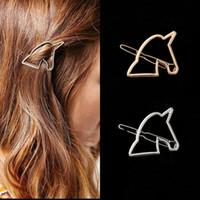 cavalo unicórnio venda por atacado-Jóia européia e americana estilo simples liga de prata de ouro unicorn horse hair clipe clipe de lado