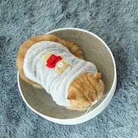 Wholesale cat button fashion resale online - New Fashion Cats Clothes Autumn Winter Warm Soft Lovely Comfortable Coral Fleece Button Coat For Kittens Puppy Pet Supplies