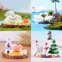 ingrosso micro artigianato-Micro-paesaggio Decor figura Animale Giardino in miniatura Coniglio Cigno Maiale Orso muschio Accessorio Primavera Estate Autunno Inverno Resina Craft FFA2836