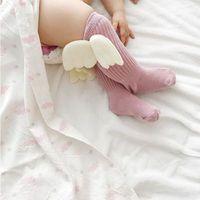 engel flügel für babys großhandel-INS 2019 Kindersocken Baby Mädchen Angel Wings Socken Kinder alle passen Kniestrümpfe Kindermode kniehohe Baumwollkinder