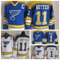 eishockey-patches groihandel-Top-Qualität # 11 Brian Sutter Trikots 1980 CCM Vintage St. Louis Blues 11 Brian Sutter Hockey Jersey genäht Herren ICE Hockey C Patch