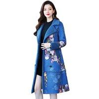 ingrosso cappotto di lana floreale-Cappotto invernale donna cappotto di lana Plus size grande giacca parka lungo caldo caldo floreale elegante vintage femminile abiti di alta qualità
