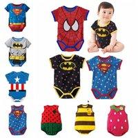 bebek kıyafeti toptan satış-Bebek Kız Tulum Karikatür Superman Tulum Çocuklar Kısa Kollu Üçgen Takım Çocuk Baskı Tırmanma Giysi Yaz Plaj Kıyafetleri GGA2151