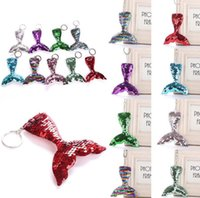 Wholesale jewelry accessories for women for sale - sequins Keychain Glitter Mermaid heart Sequins Key Chain Gifts for Women Car Bag Pendant Accessories Key Ring Jewelry KKA6527