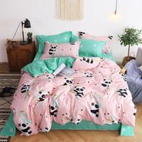 Wholesale kids cartoon bedding set king size resale online - Panda pattern design duvet cover with pillowcase quilt cover sheets King size bedding set pieces Kids bedding Single size