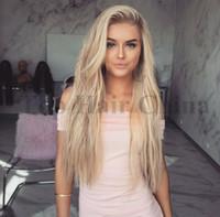 perücke weibliche lange haare großhandel-Blonde Ombre Perücke Haar Synthetische Perücken für weiße Frauen 24