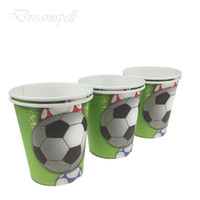 Wholesale football party favors online - 12pcs new lovely Football Disposable paper Cups Birthday Party Decorations Kids Baby Shower Supplies Party Favors