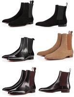 botas de couro de fundo plano venda por atacado-Red Bottom Roadie Flat Para Homens Simples botas curtas Ankle Boots Design de Couro Confortável Perfeito Vestido de Festa de Casamento Andando EU38-46