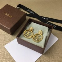 Wholesale gold lion earrings resale online - European and American luxury custom earrings classic letter lion head ring versatile earrings