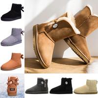 moda markası çocuk ayakkabıları toptan satış-UGG Moda lüks tasarımcı kadın ayakkabı kış kar botları kadın kristal toka kahverengi siyah étoile bayanlar platformu çocuklar kürk avustralya çizmeler luxury brand boots