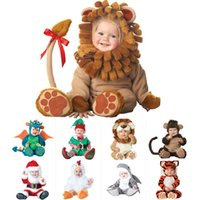 Wholesale free size girl clothes resale online - New Animal High Quality Baby Boys Girls Halloween Dinosaur Costume Romper Kids performing hats and shoes Clothing Set Toddler