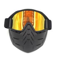 Wholesale open face helmets vintage resale online - SAI YU Ski Bike Motorcycle Face Mask Goggles Motocross Eyewear Motorbike Open Face Detachable Goggle Helmets Vintage Glasses