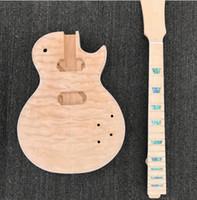 corpo de guitarra quilted maple venda por atacado-Kit de Guitarra Elétrica inacabada, corpo de Alder com top de maple acolchoado, pescoço de Maple com espiga longa, guitarra de DIY, sem partes de guitarra