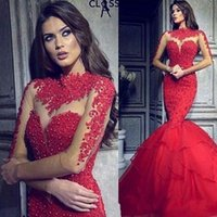 Wholesale party online - Sexy Illusion Red Prom Dresses Arabic Mermaid Long Sleeves High Neck with Appliqued Beaded Long Ruched Formal Evening Party Celebrity Gowns