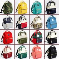 anello japão mochila venda por atacado-Japão Anello Stripes Canvas Mochilas 5 cores Bolsas Mochila Escolas Mommy Backpack Fraldas Sacos de Viagem Outdoor Bolsas