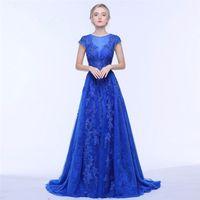 формальные синие пояса оптовых-Синий тюль-line Пром платья с поясом вечерние платья 2018 Cap рукава длиной до пола вечернее платье