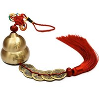 Wholesale chinese wind chime resale online - Traditional Chinese Gourd FU Design Feng Shui Copper Bell Blessing Good Luck Hanging Wind Chimes Home Decor Accessories