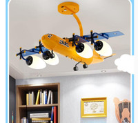 Decora Air Plane Design Hanging Lamp Semi Pendant L78cm LED Blue and Yellow Color Children Kid's Room Home Surface Mounted Ceiling Lights