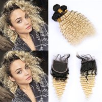 Wholesale two tone wavy weave online - Two Tone B Blonde Bundles and Closure Free Part Ombre Blonde Deep Wave Wavy Human Hair With Lace Closure g